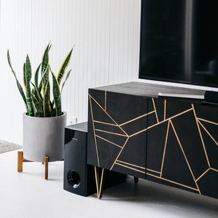 Roar + Rabbit Brass Geo Inlay Media Console from West Elm