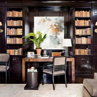 Transitional living room library photo in Atlanta with black walls