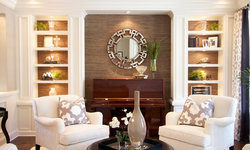 Robeson Design Living Room with Painted Built In Storage Solutions