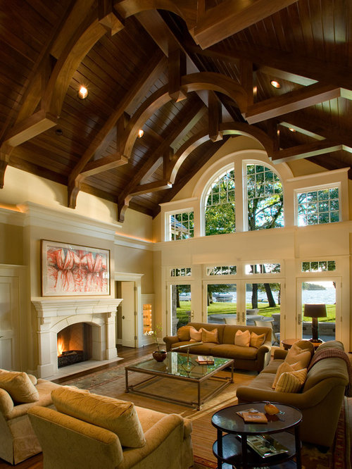 Living room vaulted ceiling home design ideas pictures remodel and decor - Expansive large glass windows living room pros cons ...