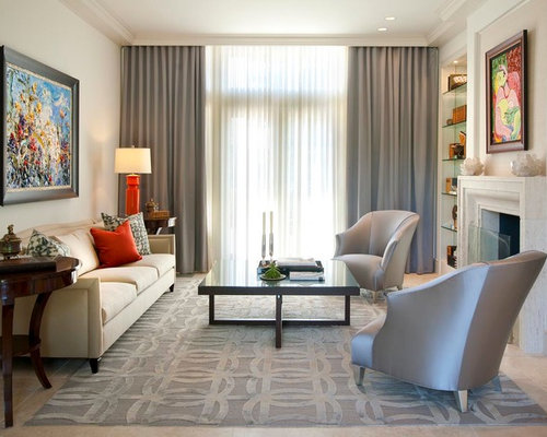 Mid Sized Elegant Formal Travertine Floor Living Room Photo In Dallas With  Beige Walls,