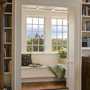 Living room library - victorian living room library idea in Boston
