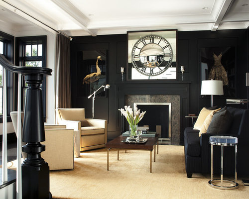 Attractive Transitional Living Room Library Idea In Boston With Black Walls