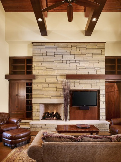 Craftsman Living Room by Cornerstone Architects