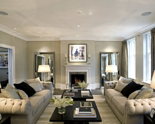 Inspiration For A Transitional Enclosed Living Room Remodel In London With  Beige Walls And A Standard