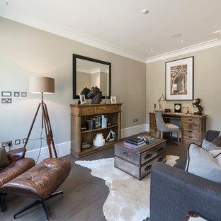 Living room - transitional gray floor living room idea in London