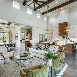 Idee per un soggiorno contemporaneo di medie dimensioni e aperto con pareti bianche, pavimento in gres porcellanato, TV a parete, pavimento grigio e nessun camino