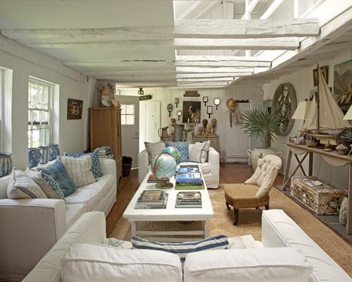 Tan And Navy Beach Living Room | Houzz
