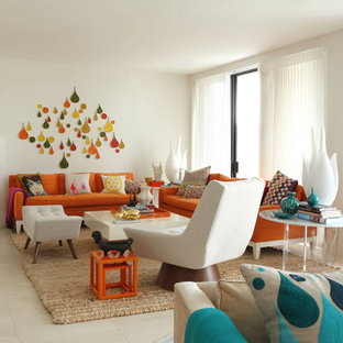 Turquoise And Orange Living Room | Houzz