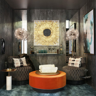 Design ideas for a mid-sized modern enclosed living room in New York with multi-coloured walls, carpet, no fireplace, no tv, grey floor and a home bar.
