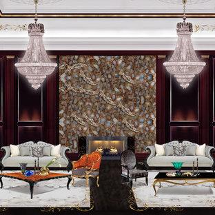 Esempio di un ampio soggiorno american style aperto con sala formale, pareti nere, pavimento in marmo, camino bifacciale, cornice del camino in pietra e nessuna TV
