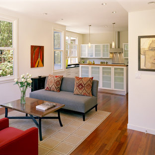 Photo of a small contemporary open concept living room in San Francisco with white walls, no fireplace and no tv.