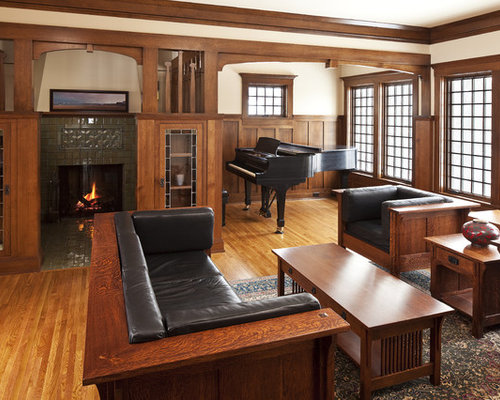 Wonderful Example Of An Arts And Crafts Enclosed Living Room Design In Other With A  Music Area