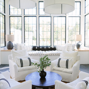 Inspiration For A Beach Style Gray Floor Living Room Remodel In Nashville  With White Walls