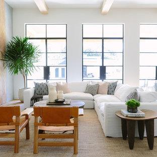 ナッシュビルの大きいビーチスタイルのおしゃれなLDK (淡色無垢フローリング、コンクリートの暖炉まわり、白い壁、標準型暖炉、壁掛け型テレビ、ベージュの床) の写真
