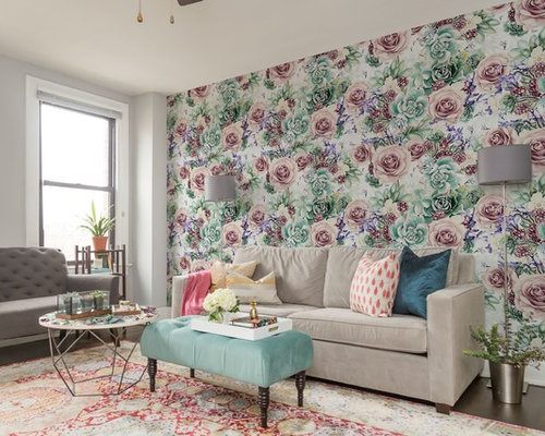 feature walls in living rooms ideas. Design ideas for a medium sized traditional enclosed living room in London  with multi coloured Living Room Feature Wall Ideas and Photos Houzz