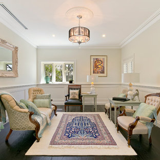 Inspiration for a traditional formal enclosed living room in Sydney with beige walls, dark hardwood floors, no fireplace and no tv.