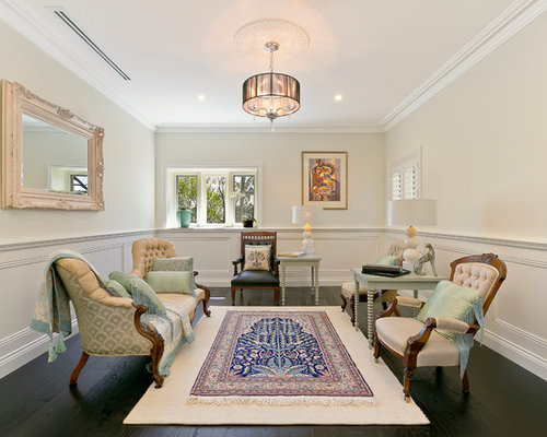 Inspiration For A Traditional Formal Enclosed Living Room In Sydney With Beige Walls Dark Hardwood