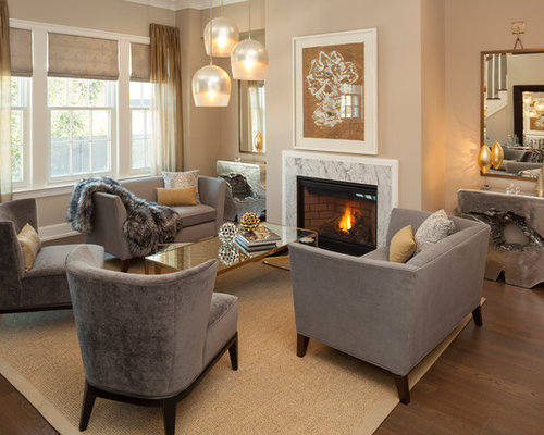 Inspiration For A Timeless Dark Wood Floor And Brown Floor Living Room  Remodel In New York