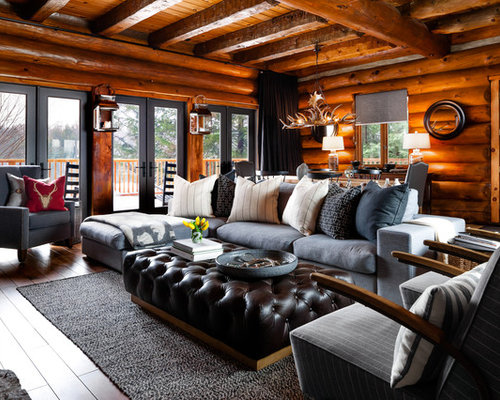 Cabin living rooms houzz for Lodge living room ideas
