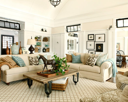 elegant living room photo in new york with beige walls - Neutral Living Room Design