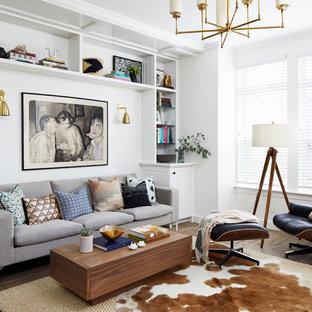 Immagine di un piccolo soggiorno design aperto con angolo bar, pareti bianche, pavimento in gres porcellanato e pavimento marrone
