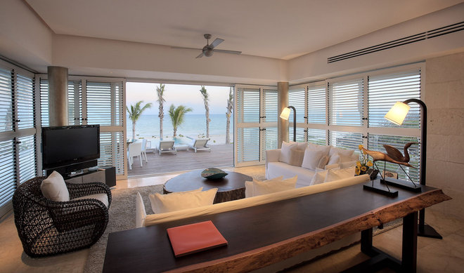 Tropical Living Room by Rotsen Furniture