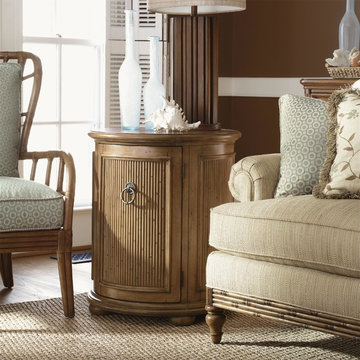 Round Drum-Style Pompano Accent Table With One Door & One Shelf