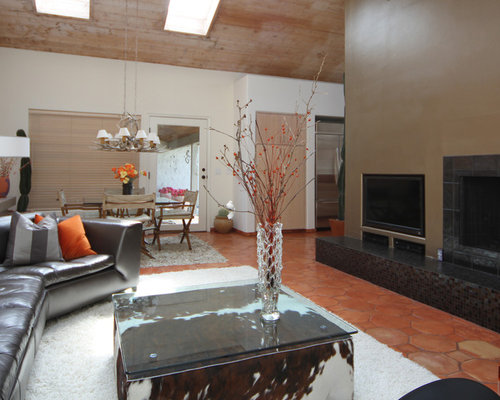 Living Room Design Ideas Renovations Photos With Terracotta Flooring A