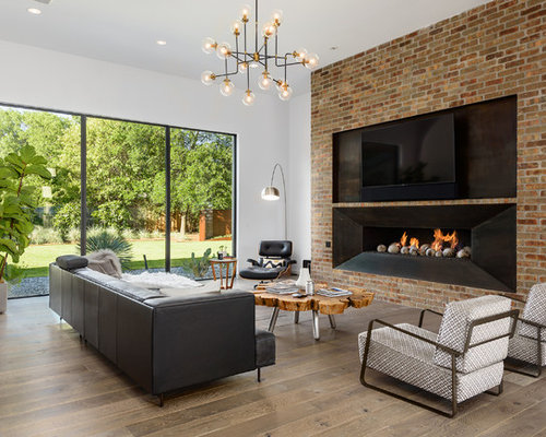 Contemporary Dark Wood Floor And Brown Floor Living Room Idea In Dallas  With White Walls, Part 89