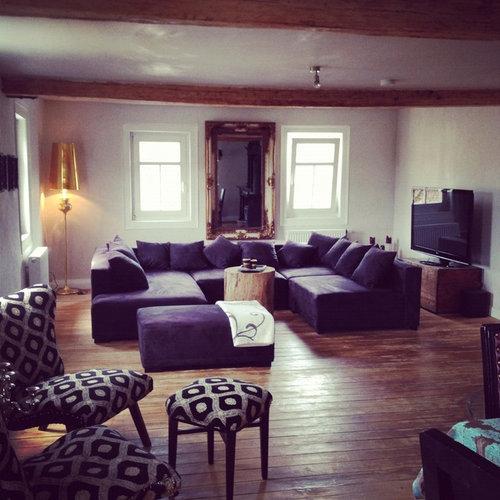 Victorian Purple Living Room Design Ideas, Renovations