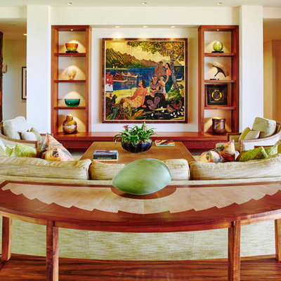 Mid-sized island style formal living room photo in Hawaii with no tv