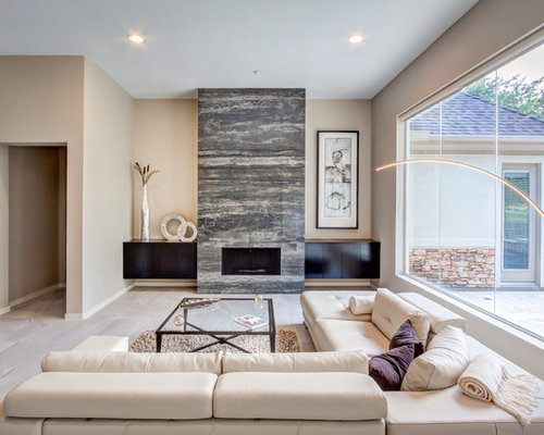 Nice Large Trendy Open Concept Living Room Photo In Houston With Beige Walls, Marble  Floors,