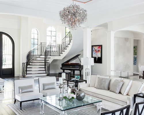 Example Of A Large Transitional Formal Living Room Design In Miami With White Walls