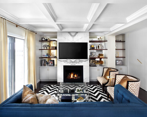 SaveEmail - White Marble Fireplace Design Ideas & Remodel Pictures Houzz