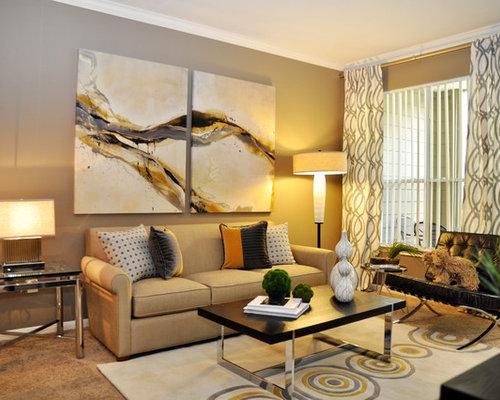 Curtains over vertical blinds houzz for Modern living room blinds