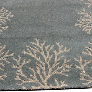 Rugsville Coral Bordered Rug Blue Rug 17136