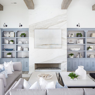 Example Of A Tuscan Light Wood Floor Living Room Design In San Go With White Walls
