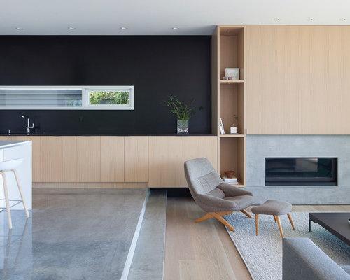 Wohnideen für repräsentative wohnzimmer mit kaminsims aus beton ...