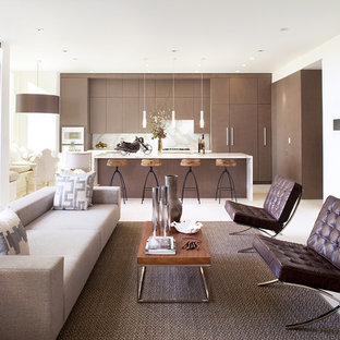 Living room - contemporary open concept living room idea in San Francisco with white walls