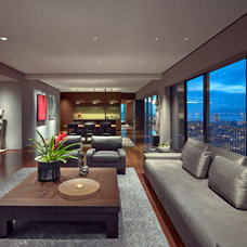 Asian Living Room by Zack|de Vito Architecture + Construction