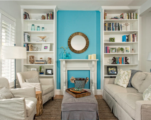 best turquoise accent wall design ideas  remodel pictures  houzz, Living room
