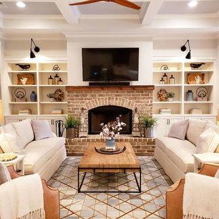 75 Beautiful Farmhouse Living Space With A Brick Fireplace Pictures Ideas December 2020 Houzz
