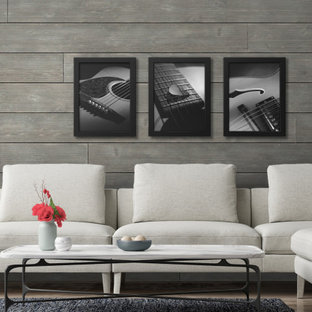 Inspiration for a contemporary living room remodel in Nashville with gray walls