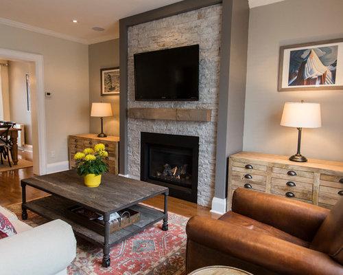 Mid sized craftsman living room design ideas remodels for Medium sized living room