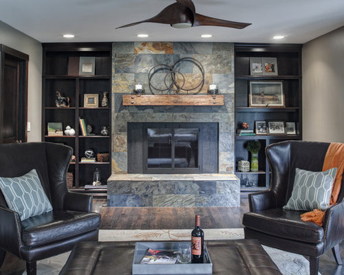 Inspiration For A Rustic Living Room Remodel In Chicago With Gray Walls And Tile Fireplace