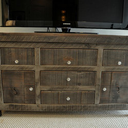 Rustic Entertainment Console- Rustic Slate Gray - Entertainment Console with all drawers closed