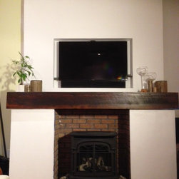 Rustic Fireplace Mantels - Flat Sawn with Original Saw Kerf Markings - Barn Beam Reclaimed Wood Mantle with Stain & Finish