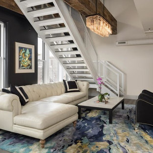 75 Beautiful Painted Wood Floor Living Room With Black Walls Pictures Ideas March 2021 Houzz