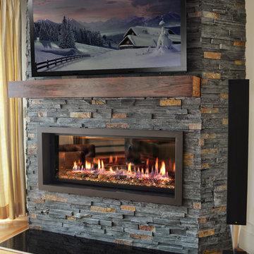 rustic linear fireplace
